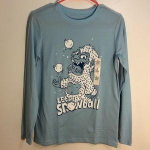 NWOT long sleeve snowman T-shirt blue L 12 14